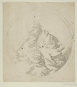 The Virgin holding the infant Christ, a circular composition, counterproof