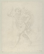 Saint Christopher walking with the infant Christ on his left shoulder, counterproof