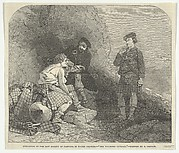 """The Wounded Cateran by R. Carrick, Exhibition of the New Society of Painters in Water Colours (from """"The Illustrated London News"""")"""
