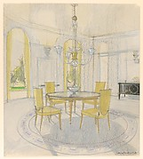 Design for a dining room in 1930's classical style