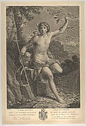 Saint John the Baptist in the desert, seated on a rock and pointing upward with his left hand, a lamb at his right, after Reni