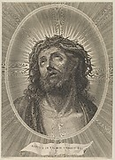 Head of Christ looking up with crown of thorns, in an oval frame, after Reni