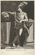 David standing with crossed legs and holding the head of Goliath on a pedestal at left, a sword on the ground, after Reni