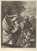 The Flight into Egypt; the Holy Family walking together, Saint Joseph pointing to the right and the Virgin carrying the infant Christ, an angel in front of her offering a flower, after Reni