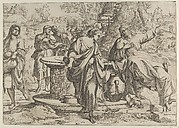 The Samaritan woman standing at the well, Christ seated next to her pointing to the right, after Annibale Caracci