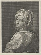 Portrait of Beatrice Cenci in bust-length, turning to face outwards with a cloth wrapped around her head, after Reni