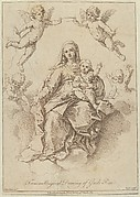 The Virgin seated in the clouds with the infant Christ, surrounded by putti, after a drawing by Reni