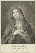 The Virgin looking upwards with hands crossed over her chest, after Reni