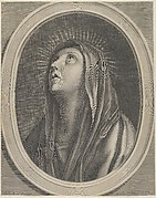 The Virgin looking up to the left, in bust length in an oval frame, after Reni