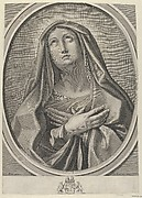 The Virgin with arms crossed over her chest, looking up to the left, in an oval frame, after Reni
