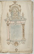 Design for a Wall Tomb with a Variant and a Statue of Christ as Salvator Mundi