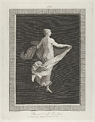 A partly naked bacchante seen from behind, facing right and holding an oval dish in her left hand, her drapery in her right, set against a black background inside a rectangular frame