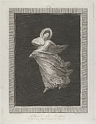 A bacchante wearing a flowing drapery, looking down, right arm bent and left arm outstretched, set against a black background inside a rectangular frame