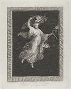 A bacchante carrying a large basket on her head and holding a staff in her left hand, set against a black background inside a rectangular frame