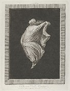 A bacchante seen in profile facing left, with outstretched left arm holding her drapery, set against a black background inside a rectangular frame