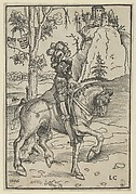 Knight on Horseback Riding Towards the Right