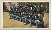 Card No. 26, Infantrymen of Austrian Cadet Corps Ready to Repulse Cavalry Attack, from the World War I Scenes series (T121) issued by Sweet Caporal Cigarettes