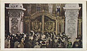 Card No. 31, Wonderful Night Scene Outside Buckingham Palace When War Was Declared, from the World War I Scenes series (T121) issued by Sweet Caporal Cigarettes