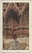 Card No. 98, Historic Cathedral at Rheims Laid in Ruins by German Siege Guns, from the World War I Scenes series (T121) issued by Sweet Caporal Cigarettes