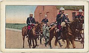 Card No. 94, Uhians Captured by French Dragoons at Guelzin, near de Drouai, Belgium, from the World War I Scenes series (T121) issued by Sweet Caporal Cigarettes