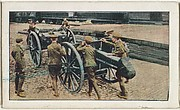 Card No. 95, English Royal Field Artillery Hurrying Their Fifteen-Pounder Guns to the Train for Shipment to General French, from the World War I Scenes series (T121) issued by Sweet Caporal Cigarettes