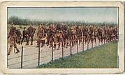 Card No. 99, The Coldstream Guards, the Crack Infantrymen of Great Britain, Passing Through Hyde Park in Heavy Marching Order, on Their Way to Paddington and the Front, from the World War I Scenes series (T121) issued by Sweet Caporal Cigarettes