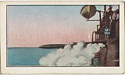 Card No. 107, French Battleship Firing a Torpedo, from the World War I Scenes series (T121) issued by Sweet Caporal Cigarettes
