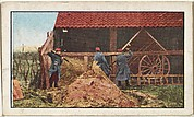 Card No. 213, French Soldiers Prodding the Hay in a Barn While Searching for a Spy, from the World War I Scenes series (T121) issued by Sweet Caporal Cigarettes