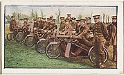 Card No. 240, British Motor Cycle Artillery, from the World War I Scenes series (T121) issued by Sweet Caporal Cigarettes