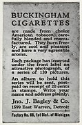 Facsimile of card verso, from the Movie Stars series (T124), issued by John J. Bagley & Co. to promote Buckingham Cigarettes