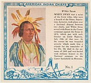 Card No. 1, White Swan, from the Indian Chiefs series (T129) issued by Red Man Chewing Tobacco