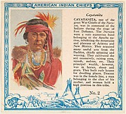 Card No. 2, Cayatanita, from the Indian Chiefs series (T129) issued by Red Man Chewing Tobacco