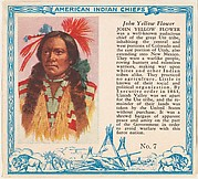 Card No. 7, John Yellow Flower, from the Indian Chiefs series (T129) issued by Red Man Chewing Tobacco