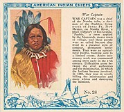 Card No. 28, War Captain, from the Indian Chiefs series (T129) issued by Red Man Chewing Tobacco