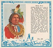 Card No. 29, Hairy Bear, from the Indian Chiefs series (T129) issued by Red Man Chewing Tobacco