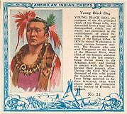 Card No. 34, Young Black Dog, from the Indian Chiefs series (T129) issued by Red Man Chewing Tobacco