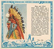 Card No. 39, Man and Chief, from the Indian Chiefs series (T129) issued by Red Man Chewing Tobacco
