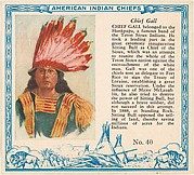 Card No. 40, Chief Gall, from the Indian Chiefs series (T129) issued by Red Man Chewing Tobacco