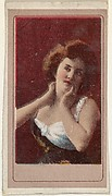 Actress holding up hands to throat and face, from the Actresses series (T176) issued by Sweet Caporal Cigarettes