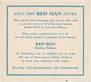 Example of card verso from the Indian Chiefs series (T129) issued by Red Man Chewing Tobacco