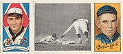 """""""Schaefer Steals Second,"""" with Clark Griffith and George F. McBride, from the series Hassan Triple Folders (T202)"""