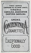 Facsimile of alternate card verso from Set 1 of the Contentnea series (T209, Set 1) for the American Tobacco Company to promote Contentnea Cigarettes