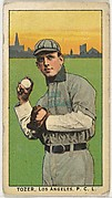 """Tozer, Los Angeles, Pacific Coast League, from the """"Obak Baseball Players"""" set (T212), issued by the American Tobacco Company to promote Obak Mouthpiece Cigarettes"""