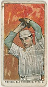 """Meikle, San Francisco, Pacific Coast League, from the """"Obak Baseball Players"""" set (T212), issued by the American Tobacco Company to promote Obak Mouthpiece Cigarettes"""