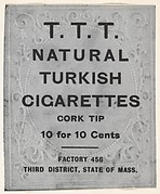 Facsimile of T.T.T. Turkish Cigarettes Card Verso, from the Baseball Players (Ramlys) series (T204) issued by the Mentor Company to promote T.T.T. Turkish Cigarettes