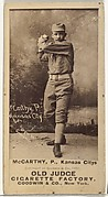 John A. McCarty, Pitcher, Kansas City Cowboys, from the Old Judge series (N172) for Old Judge Cigarettes