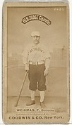 "George Edward ""Stump"" Wiedman, Pitcher, Detroit Wolverines, from the Old Judge series (N172) for Old Judge Cigarettes"