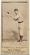 """Joseph P. """"Joe"""" Crotty, Catcher, Sioux City Corn Huskers, from the Old Judge series (N172) for Old Judge Cigarettes"""