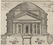 Elevation of the Pantheon in Rome, reconstructed to its original form