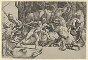 Five men fighting beasts, at lower left is a fallen boar
